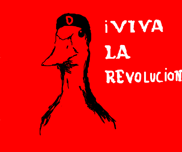 duck from drawception starting a revolution