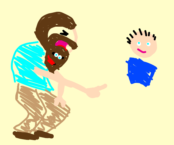 man with sentient beard laughing at a bro