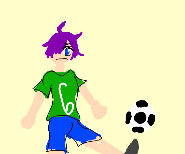 Purple haired guy playing soccer