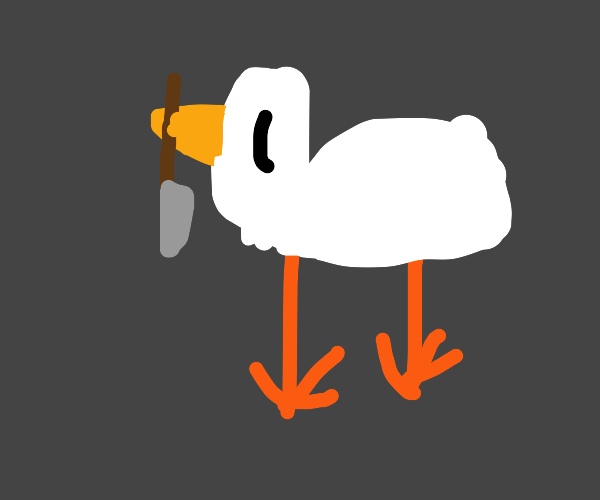 Goose holds bloody knife