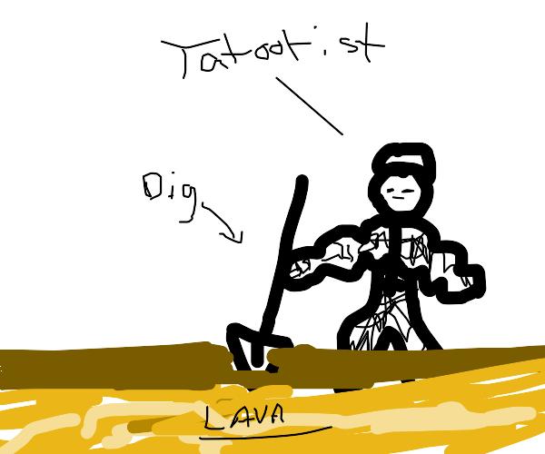 Tattoo Artist digging into Lava