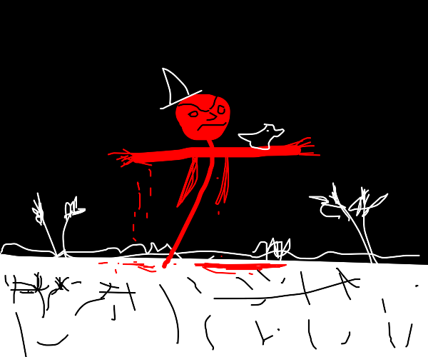 blood scarecrow in white field