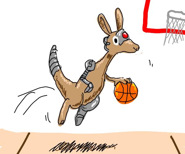 Cyborg kangaroo plays basketball