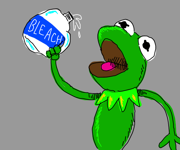 Kermit is about to drink the no-no juice