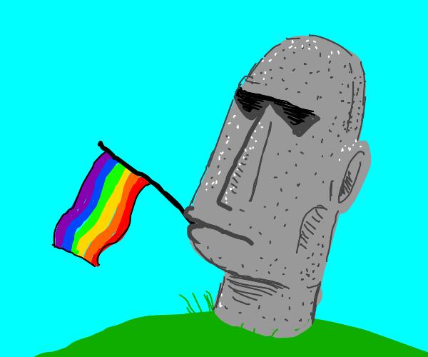 Moai holds a reverse LGBT flag