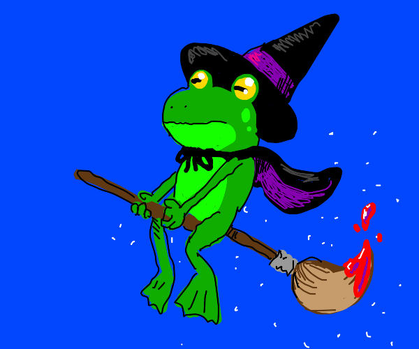 Frog witch riding paintbrush instead of broom