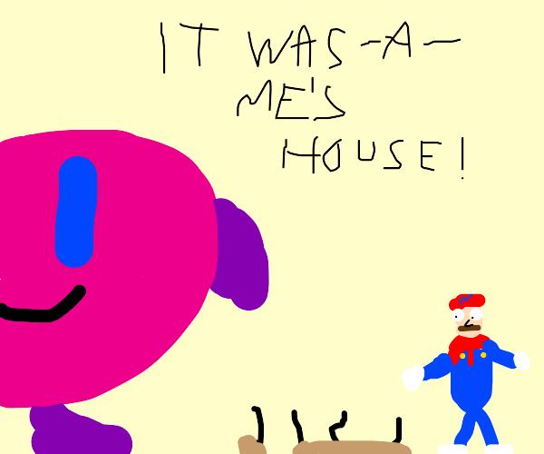 Kirby eats Mario's house