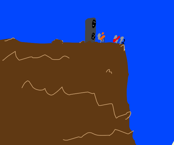 standing on the tallest cliff playing rock
