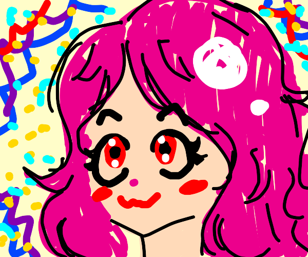 Pink hair anime grill with MAGIC around her
