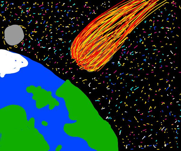 Meteor crashing to earth