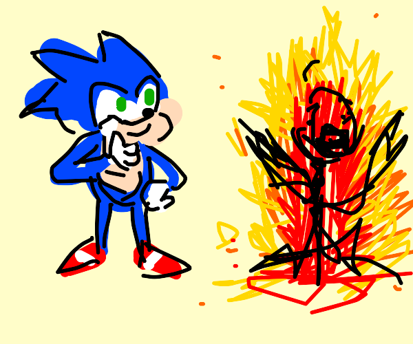 Sonic gives thumbs-up as person burns in fire