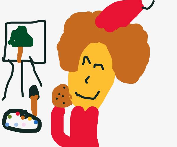 bob ross santa eating a cookie