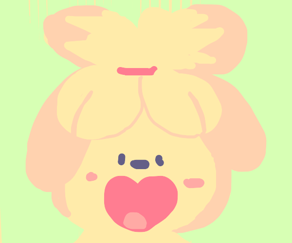 a very happy isabelle (animal crossing)