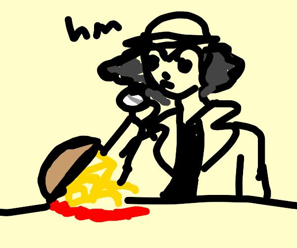 Sherlock inspects spaghetti spill
