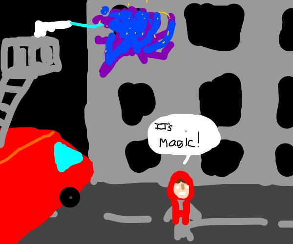 Firetruck against blue magical fire
