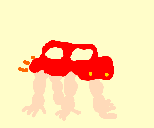 Monster truck with muscular arms for tires