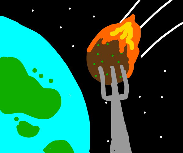Flaming meatball heading for the earth