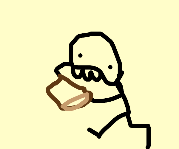 man chomps on bread
