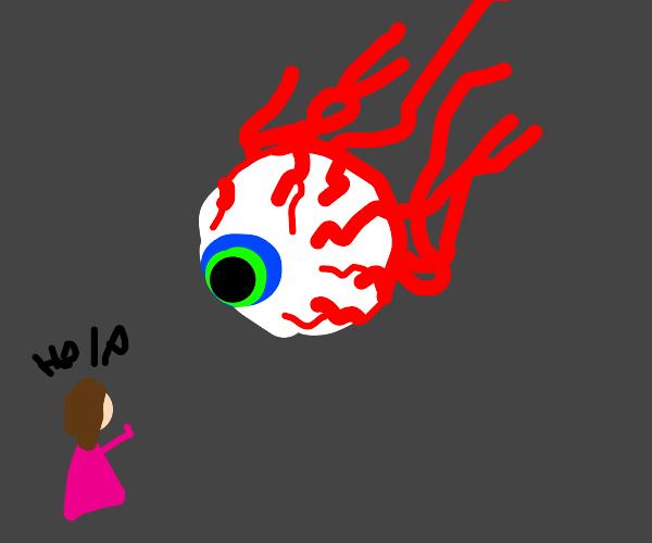 Girl asks for help from floating eyeball