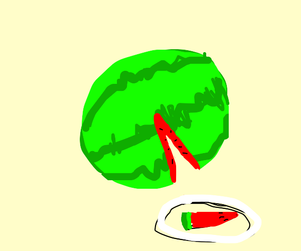 Taking a slice out of a watermelon