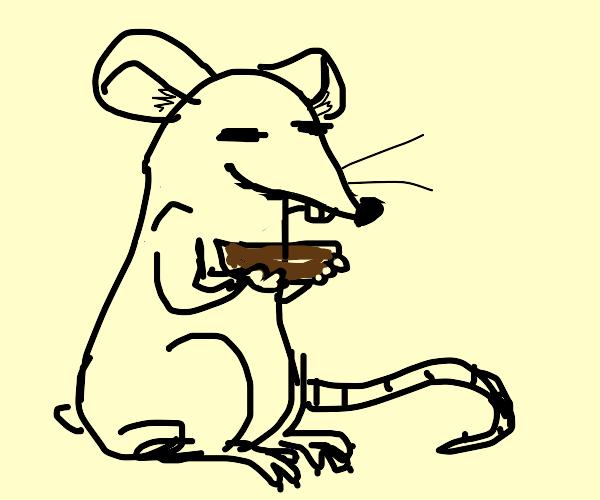 Rat King holding chocolate pudding