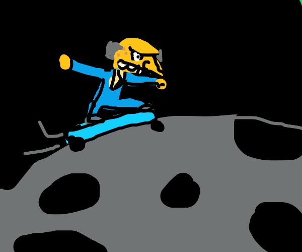 Mr. Burns does skateboarding in space