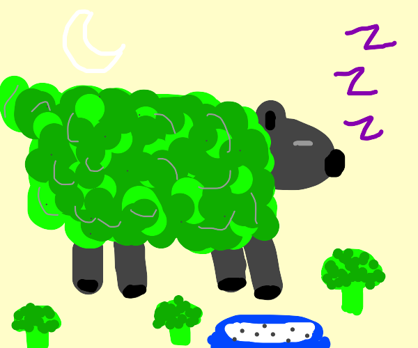sleeping sheep with broccoli for wool