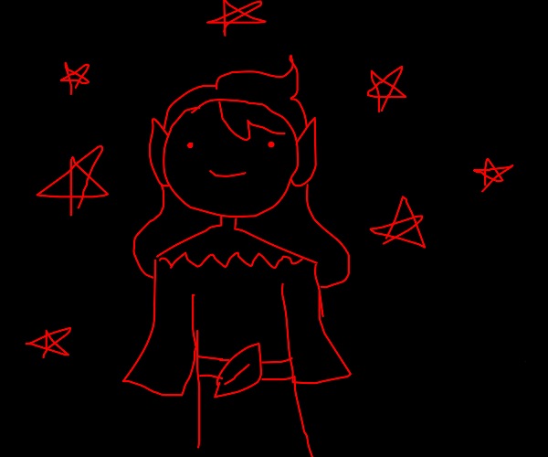 girl elf; black background; only brush is red