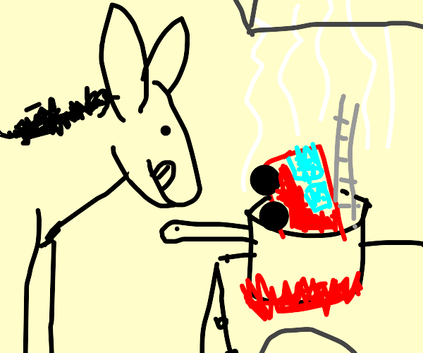 Mule cooking a Toy