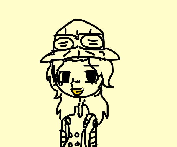 gold teeth anime boy
