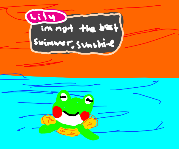 Lily uses a swimming ring to swim (ACNH)