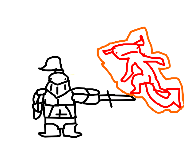 knight fights a demon