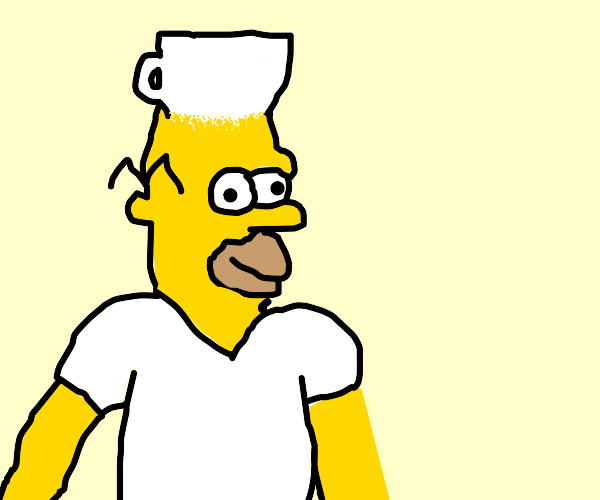 Homer Simpson with a cup head