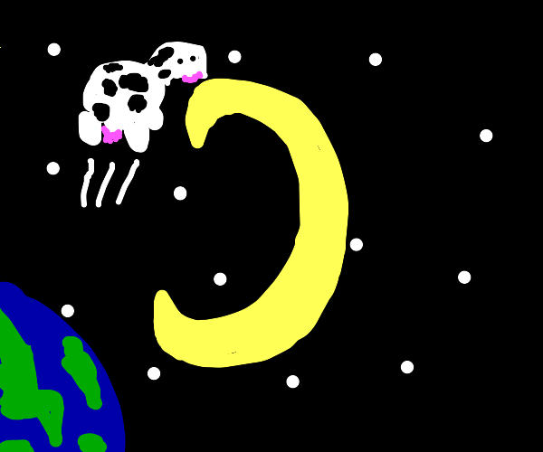 A cow jumping over the moon