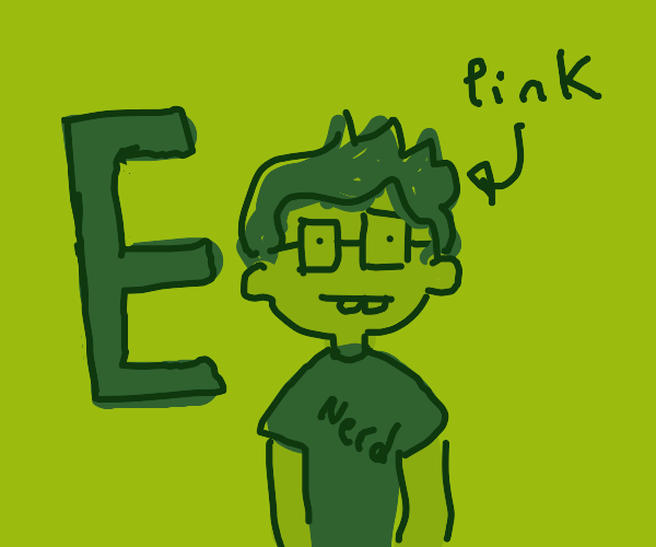pink haired nerd. E in background