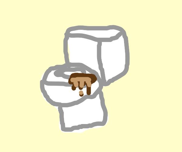 Giant turd on toilet