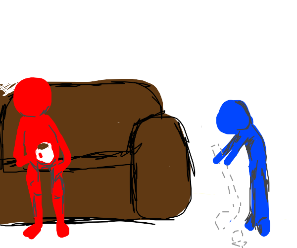 red guy and blue guy playing charades
