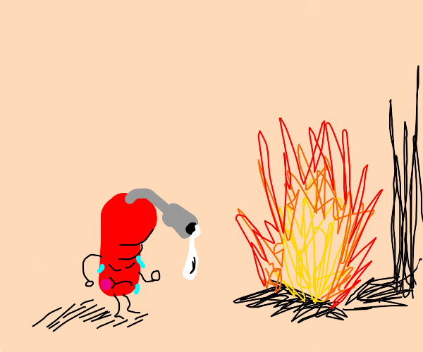 fire being put out by a fire extinguisher