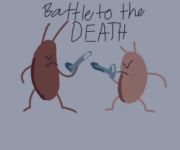 two bugs fighting with nails