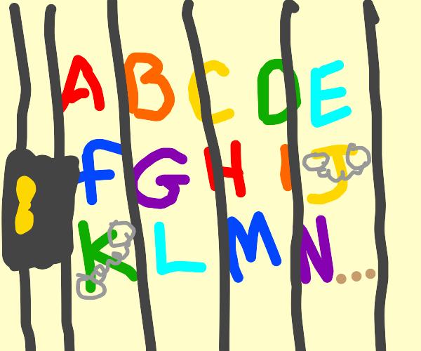 the alphabet has been imprisoned