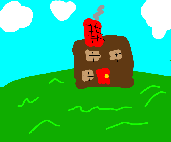 brown house on a green field