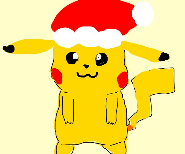 pikachu in santa hat