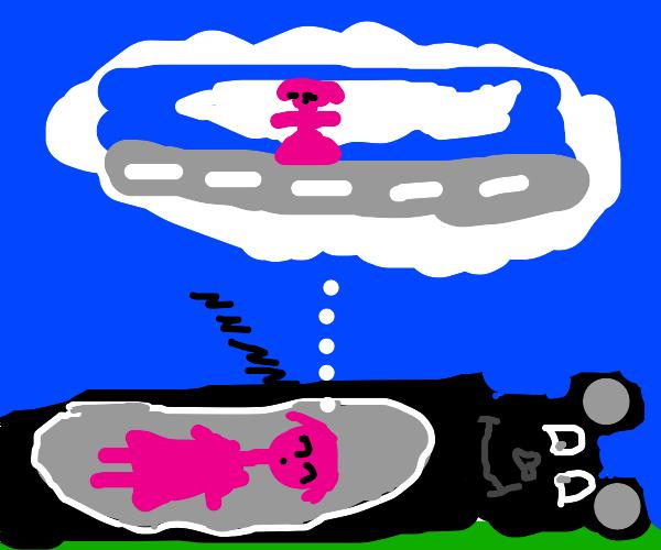 Girl on pink koala onesie dreaming on clouds