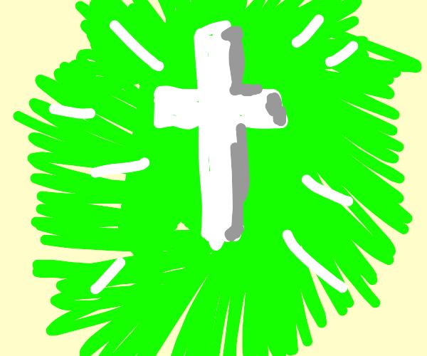 A cross radiating green light