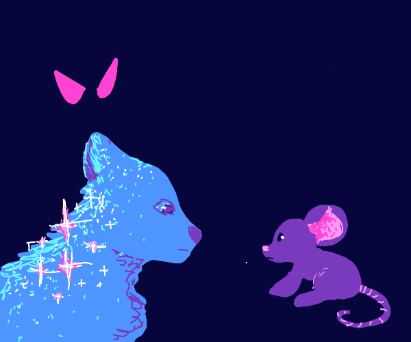 Shiny wolf & mouse in dark being watched