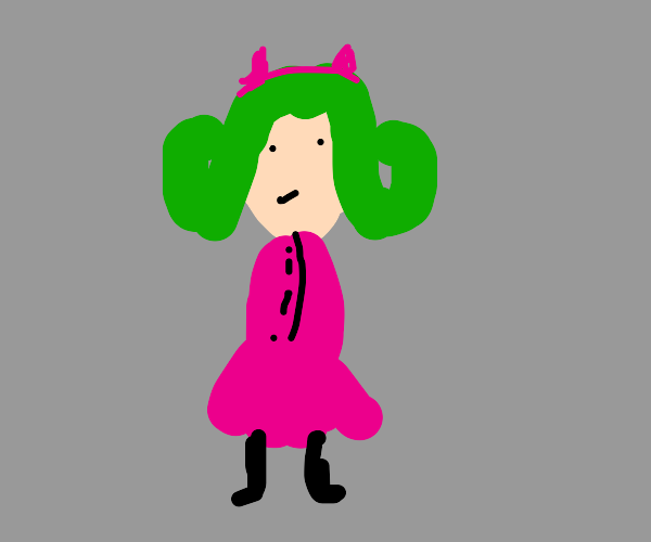 green hair girl in pink costume