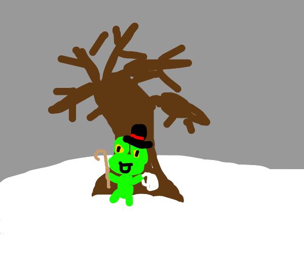 Dapper frog sitting under winter tree