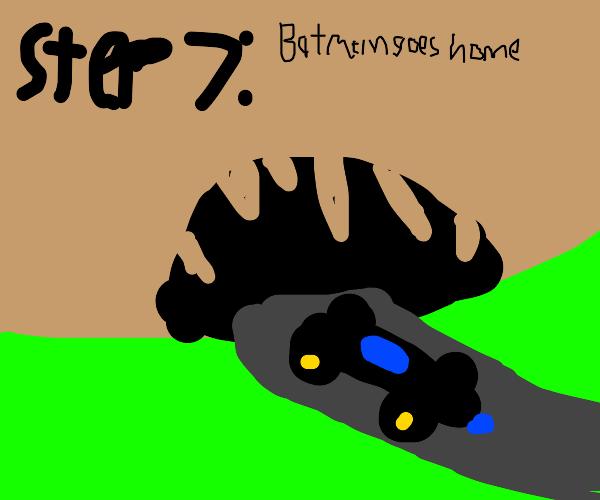 Step 6: Batman cleans up the blood