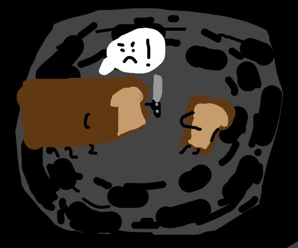 bread loaf threatens bread slice