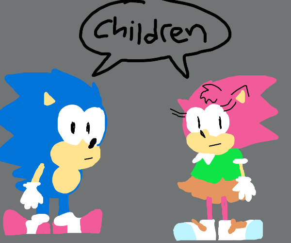 sonic and girl sonic saying child